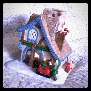 Santa's workshop candle holder